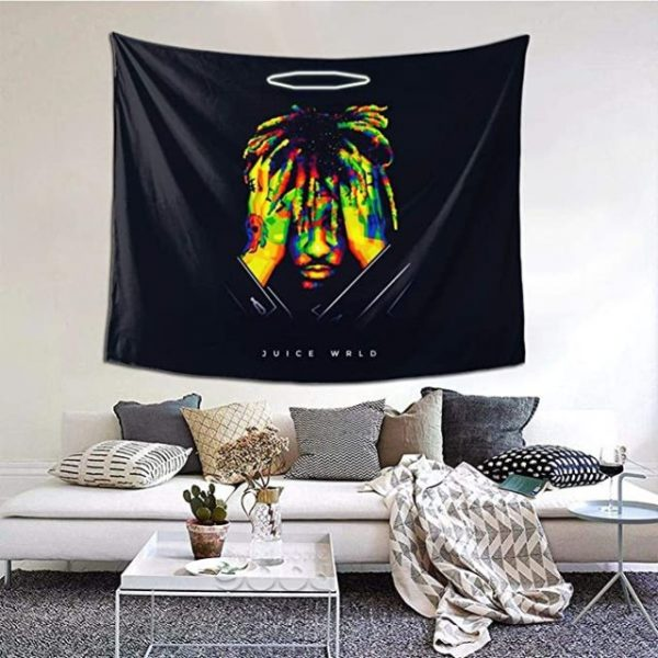 Juice Wrld 999 Tapestry Wall Hanging Colorful Fashion Rapper Wall Blanket Interior Decoration Bedroom Dormitory - Juice Wrld Store