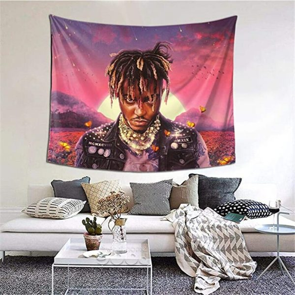 Juice Wrld Tapestry Wall Hanging Rap Wall Tapestry Decorative Blankets for Bedroom Living Room Dorm Home - Juice Wrld Store