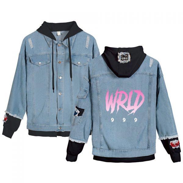 Juice Wrld denim jacket Young People Spring Autumn Hot Fashion Juice Wrld 999 hooded Denim wear - Juice Wrld Store