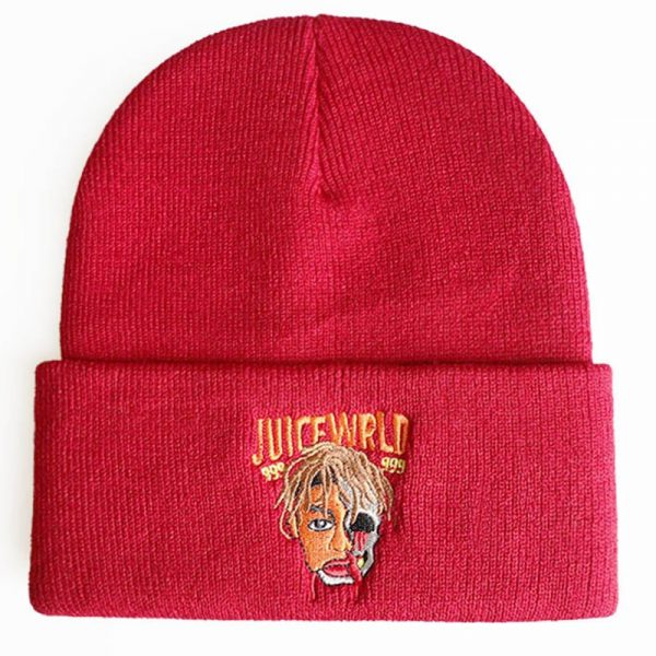 Juice Wrld 999 Beanie Embroidery Winter Hat Cotton Knitted Hat Skullies Beanies Hat Hip Hop Knit 3 - Juice Wrld Store